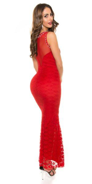 AL012 Abito da cerimonia in pizzo lungo elegante da matrimonio rosso abito  da sera e391316a975