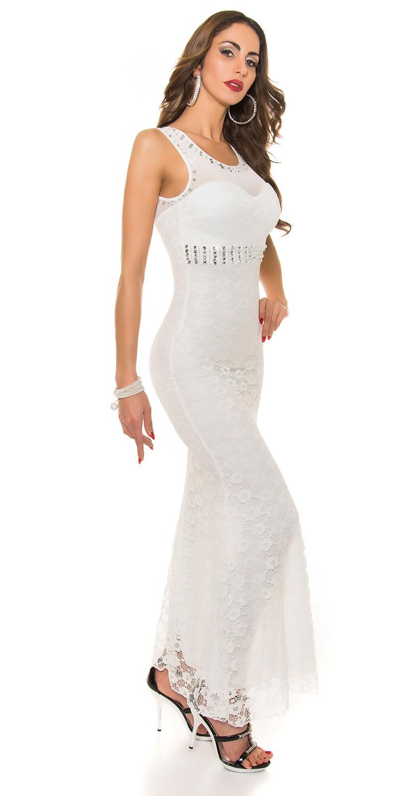 sports shoes f98f0 5ff84 AL012 Abito da cerimonia in pizzo lungo elegante da matrimonio bianco abito  da sera