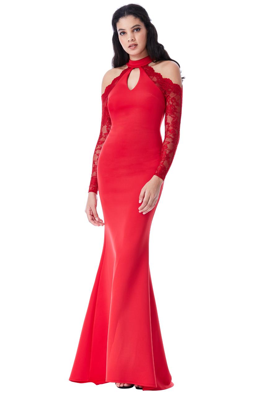 ALL008 Abito da cerimonia rosso lungo elegante da matrimonio ... 92b5d4b94b5