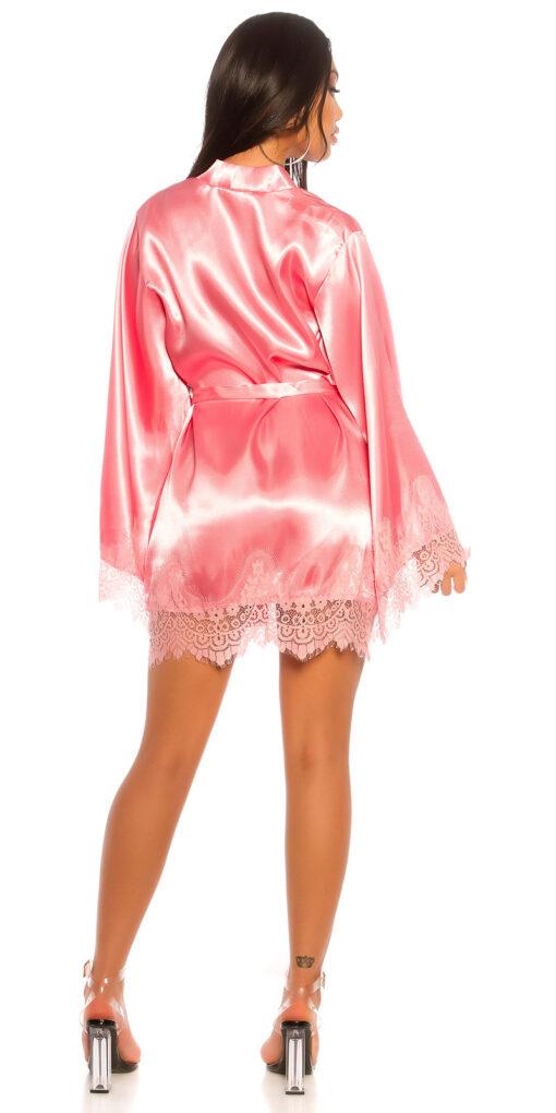Kimono vestaglia rosa dietro