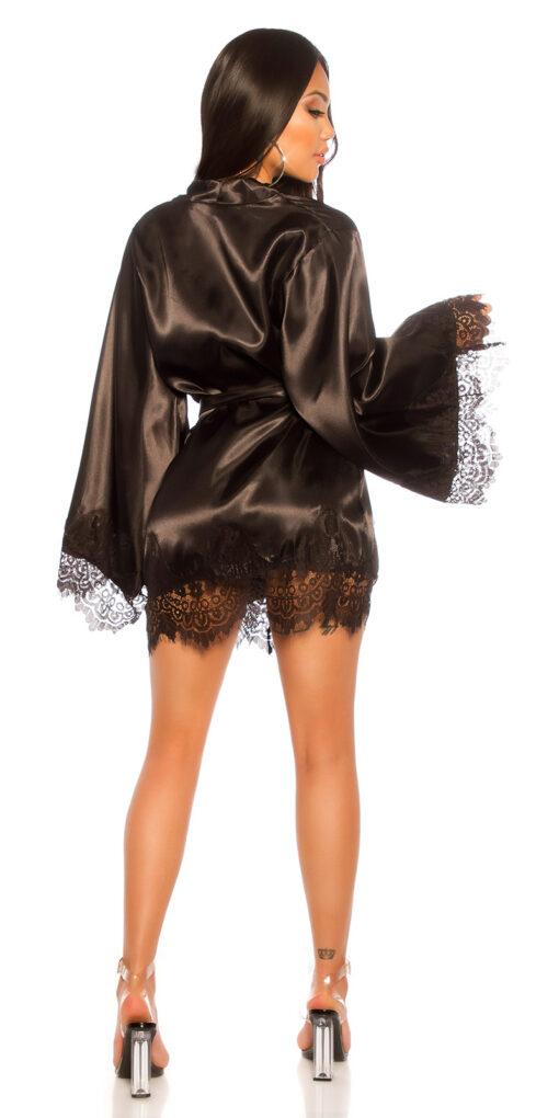 kimono vestaglia nero dietro