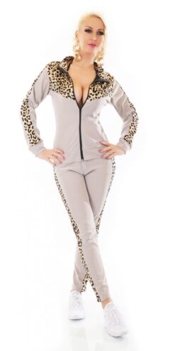 Tuta donna da ginnastica grigia leopardata