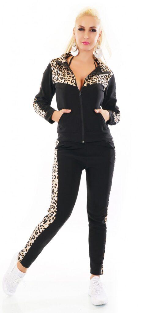Tuta donna ginnastica nera e leopardata